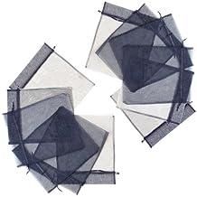 "12 Large Black Organza Bags with Drawstrings (Large 10"" x 12"")"