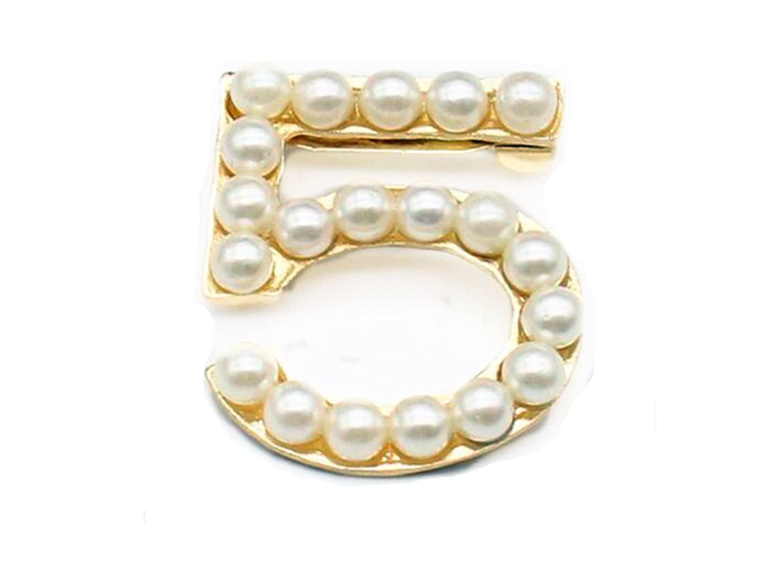 Fire Ants Women's Fashion Lucky Number 5 Pearl Girl Brooch(Gold