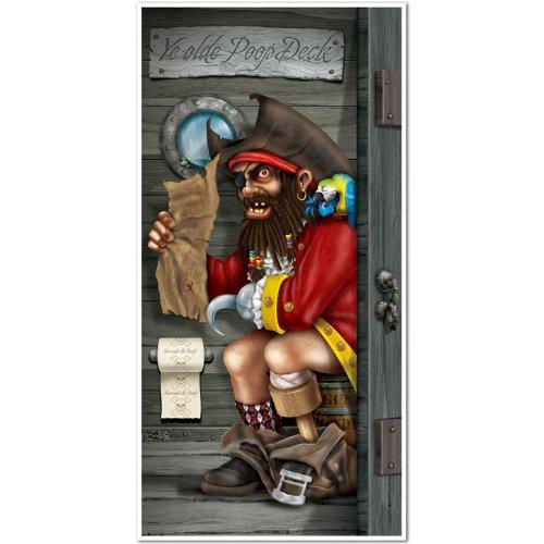 kids pirate bathroom poop deck Captain Restroom Door Cover Party Accessory