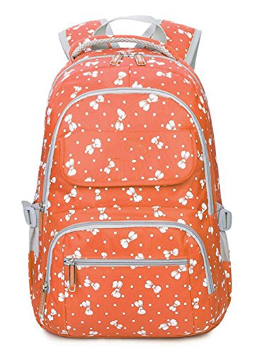 FLHT, Ladies Backpack, Junior High School Student Bag, Casual Fashion Outdoor Sports Travel Large Capacity Lightweight Multi-pocket Waterproof Backpack Orange