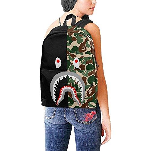 Shark Camo Nylon Backpack Bag School Bag