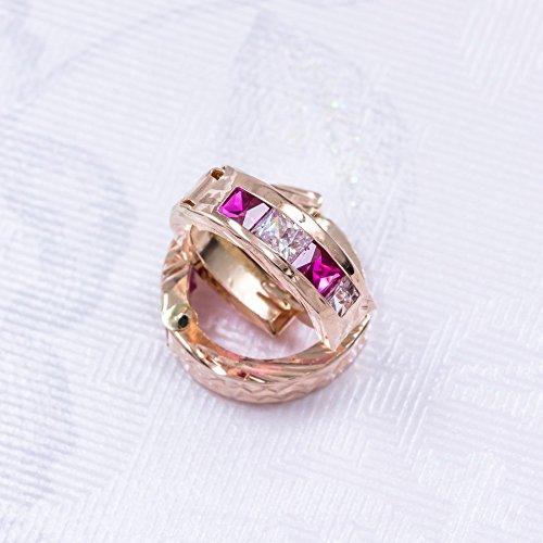 ASS en or 585Paire de boucles d'oreilles créoles avec oxyde de zirconium blanc et rose diamantée