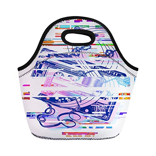 - Semtomn Lunch Bags 1980S Glitch Audio Cassette and Music Notes Tattoo Symbol Neoprene Lunch Bag Lunchbox Tote Bag Portable Picnic Bag Cooler Bag