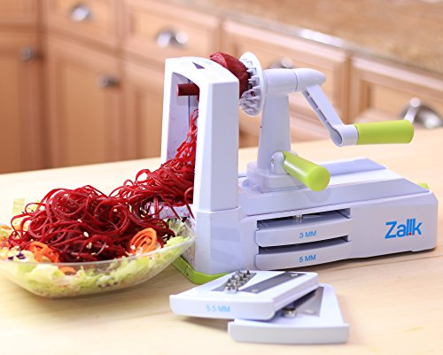 Zalik 5-Blade Spiralizer - Vegetable Spiral Slicer With Powerful Suction Base - Strong & Heavy Duty Veggie Pasta Spaghetti Maker for Low Carb/Paleo/Gluten-Free Meals With Extra Blade Storage Caddy by Zalik (Image #7)