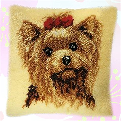 Hook Pillow Latch Bear (13 Model Latch Hook Kits for DIY Throw Pillow Cover Sofa Cushion Cover Owl/Dog/Cat/Bear/Bird with Pattern Printed 16X16 inch BZ105)
