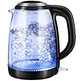 : Habor Glass Electric Kettle 1.8L Cordless Tea Kettle Premium Water Kettle with Blue LED Illumination and Boil Dry Protection, Fast Boiling Auto Shutoff, Black
