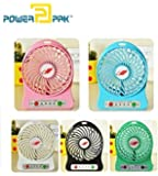 Powerpak Fiber Mini Portable USB Rechargeable Fan(Multicolour, Small)