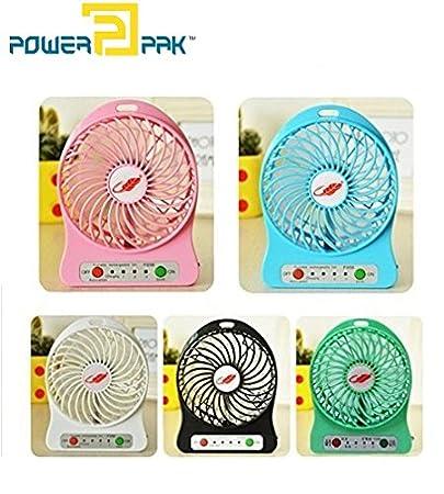 Powerpak Fiber Mini Portable USB Rechargeable Fan(Multicolour, Small)