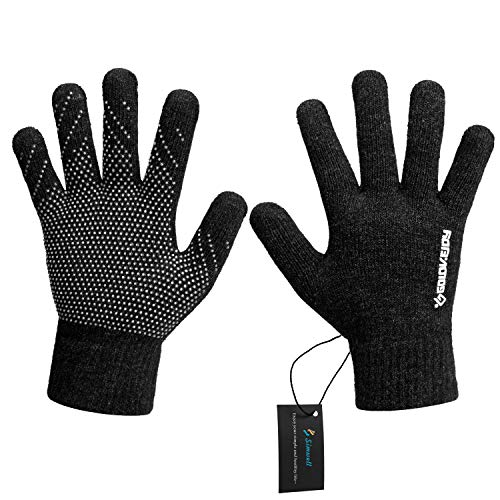 Winter Knit Gloves, Simwell Men Women Touchscreen Texting Gloves Knitted Wool Lined Magic Thermal Gloves (Black Women)