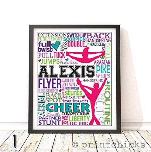 Competitive Cheer Typography Personalized Print - PrintChicks Cheerleader Art Decor Poster Team Gift for $<!--$22.00-->
