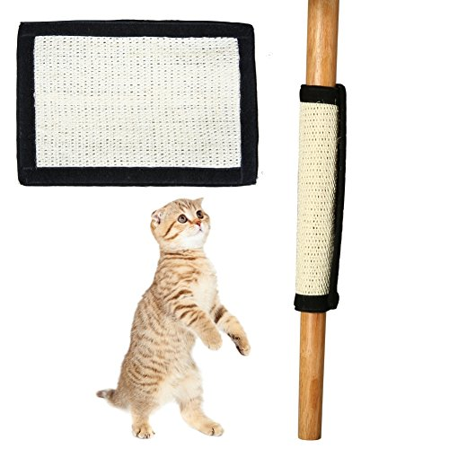 Homedeco Cat Scratch Mat Cat Scratcher Kitten Natural Sisal Scratching Post Cat Scratcher Pad with Features Velcro Backing for Wrapping Around Table, Couch, Chair, Furniture Leg (B)