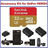 Accessory Kit for GoPro HERO4 Camcorder, Includes: SanDisk 32GB SDHC Extreme MicroSD Memory Card, AC/DC Travel Charger with Batteries, Card Reader and Memory Card Wallet