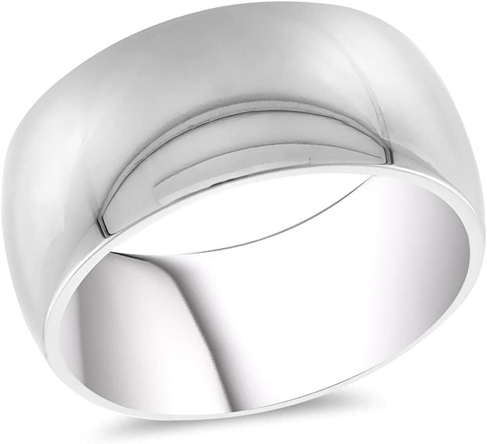 WorldJewels 10mm Domed Surgical Stainless Steel /& Wedding Band /& Ring