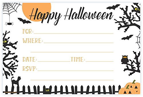 Halloween Themed Party Invitations - Fill In Style (20 Count) With -
