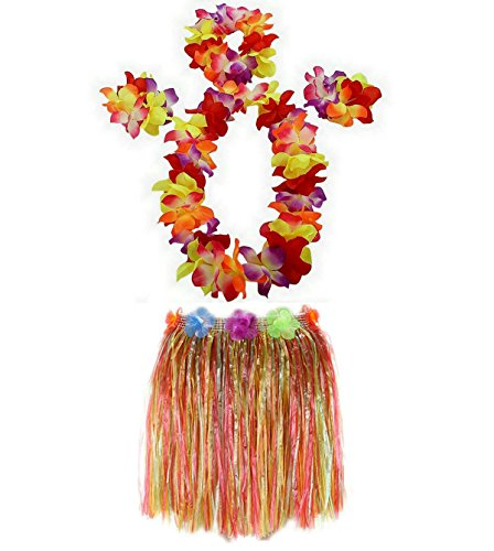 (1 Set 40cm kids Party Hawaii Dress Hula Grass Skirt by AniiKiss (Multicolor))