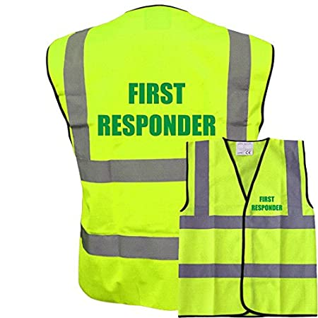 Printed Yellow Hi Vis Vest First Responder Waistcoat Safety Vest