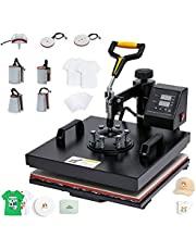 """CO-Z 15""""x15"""" Heat Press Machine, 8 in 1 Swing Away Flat Plate Cap Mug Press Set, 38x38cm Pro Heat Press for Home Charity & Business T Shirts Hats Masks Bags Tile and More with Shirts & Transfer Paper"""