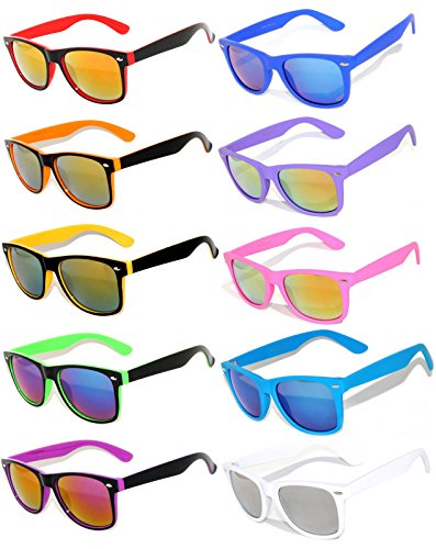 Stylish Vintage Full Mirror Lens Sunglasses 10 Pairs for Men, - 6 Pack Sunglasses