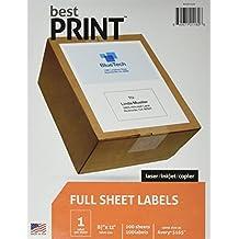 "Full Sheet - Best Print Address Labels - 8-1/2"" x 11"" (Same size as 5165), 100 Labels"