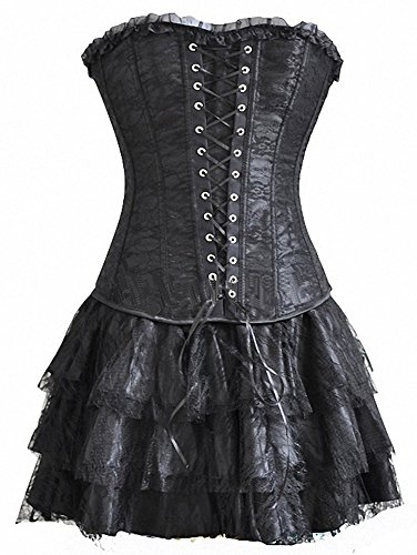 Topmelon Womens Fashion Gothic Boned Corset Bustier Skirt, Black, Small ()