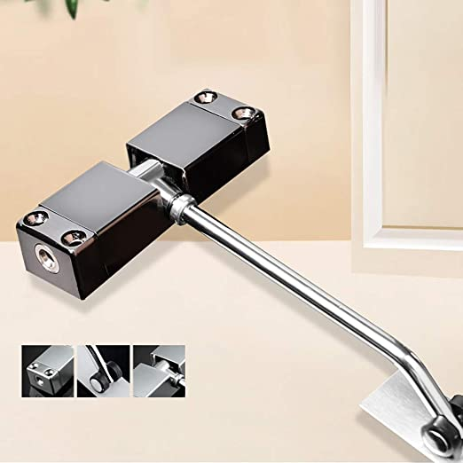 6x4inch 9.8cm Automatic Door Closers,Spring Buffer Door Closers 30kg Light Duty Closer Adjustable Closed Door Speed for Home or Commercial use-Silvery 15