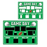 Club Pack of 24 Green and White Football Chalkboard Game Day Scoreboard Cutout Decorations 21.75''