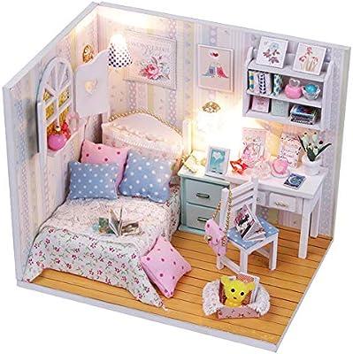 JujubeZAO DIY casa de mu/ñecas Juguete Bricolaje de Madera casa de mu/ñecas en Miniatura Muebles de Dormitorio con Cubierta LED para ni/ñas Juguete Regalo