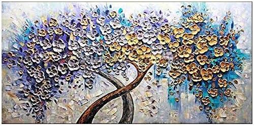 Jiuyue Muurdecoratie Schilderij Handgemaakte Moderne Canvas Op Olie Schilderij Palet Mes Gouden Boom Bloemen Schilderijen Thuis