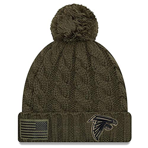 New Era Women 2018 Salute to Service Sideline Cuffed Knit Hat - Olive (Atlanta Falcons)
