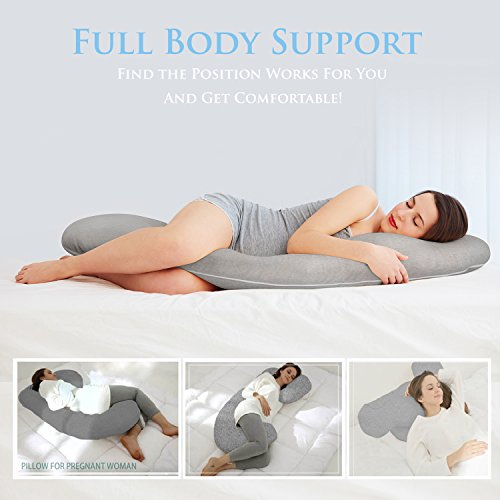 Full Body Maternity Pillow - Baby Nursing Cushion & Maternity Pillow for Pregnant Women - Belly & Back Support Cushion Made of 100% Cotton Pillow Cover - C Shaped
