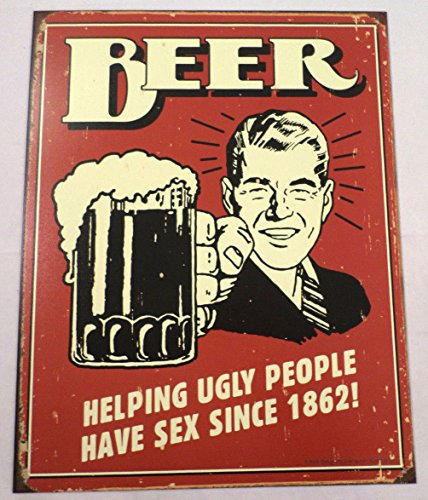 Beer Helping Ugly People Have Sex Tin Sign Man Cave Wall Art Bar Related #1328 ()