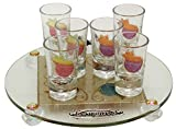 Cheers Collection Liquor Set with 6 Glasses And Round Tray Pomegranate  - Rainbow - Tray 15'' X 3.5'' - Cup 3.75''H