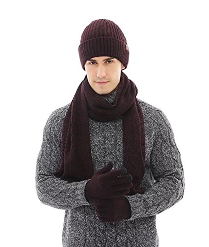 (Lanzom Warm Winter Men 3 PCS Knitted Set Knit Hat + Long Scarf + Touch Screen Gloves Gift Set (Coffee, One Size))