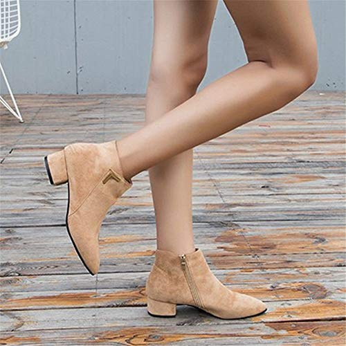Autumn And Suede With Winter Antiskid Boots Warmth And white And Boots Low Casual Martin Women'S Rice Hair Pointed qUzXw