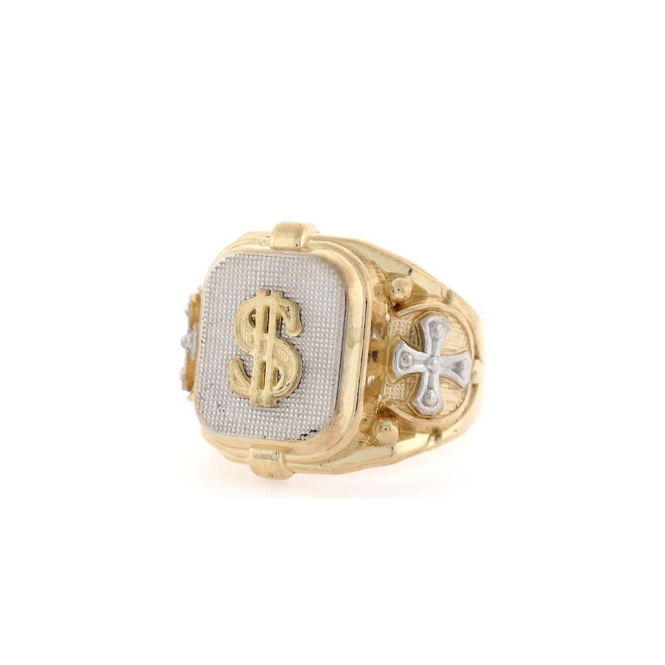 14K Two Tone Gold Religious Cross Dollar Mens Ring