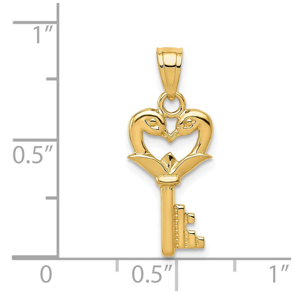 14K Yellow Gold Themed Jewelry Pendants /& Charms Solid 9.05 mm 22 mm Swans Key Pendant