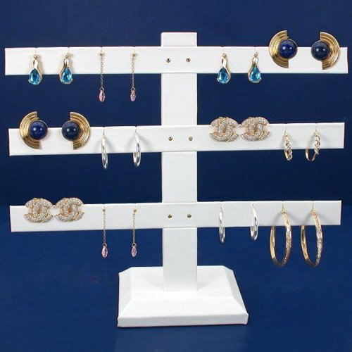 White Leather Earring T Bar Display
