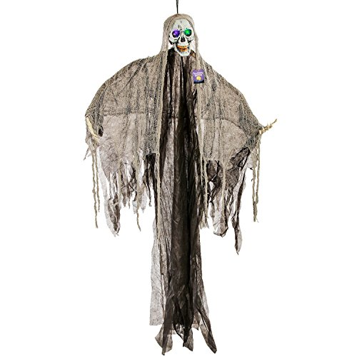 Halloween Haunters Hanging 5 Foot Scary Skeleton Reaper Ghost with Flashing Multi-Color LED Eyes Prop Decoration - Haunted House Graveyard Entryway Party Display -