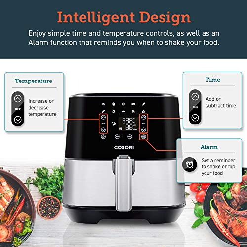 COSORI Air Fryer(100 Recipes,Rack & 4Skewers),Stainless Steel Electric Air Fryers Oven Oilless Cooker,9 Cooking Presets,Preheat&Alarm Reminder,3.7-Quart Nonstick Basket,2-Year Warranty,ETL/UL Listed