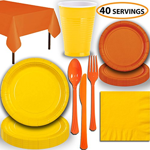 - Disposable Party Supplies, Serves 40 - Yellow and Orange - Large and Small Paper Plates, 12 oz Plastic Cups, Heavyweight Cutlery, Napkins, and Tablecloths. Full Two-Tone Tableware Set