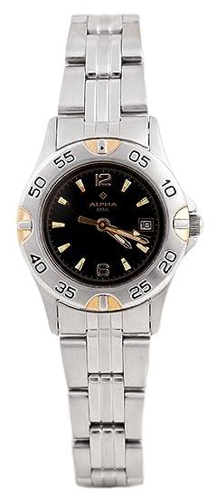 Alpha Saphir 126D - Reloj de Mujer de Cuarzo, Correa de Acero Inoxidable Color Plata: Amazon.es: Relojes