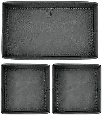 mDesign Juego de 3 cajas organizadoras - Cestas de tela ...
