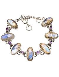 "StarGems(tm) Natural Labradorite and Amethyst Mexican 925 Sterling Silver Bracelet 6 3/4-7 1/2"""