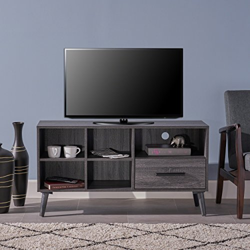 - Great Deal Furniture 304404 Melantha Mid Century Modern Faux Wood Overlay TV Stand, Grey Oak,