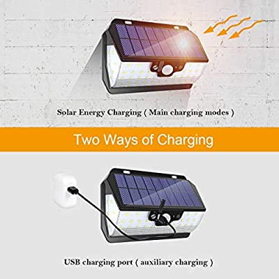 ErayLife Outdoor Solar Light, 55 LEDs with Motion Sensor with Remote Control/USB Charge/IP65 Waterproof/3 Adjustable Modes, Ideal for Garden, Garage, Driveway (2 Pack)