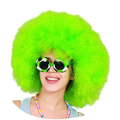 Kurop Unisex Afro Wig Black Wig Fancy Costume Funny Wig Party Costume (Green) -
