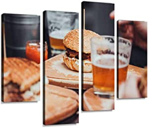 Pub Food Canvas Wall Art Hanging Paintings Modern Artwork Abstract Picture Prints Home Decoration Gift Unique Designed Framed 4 Panel