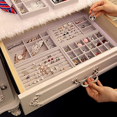 CINEEN Schmuckaufbewahrung Schmucktablett Stapelbare Schmuckkästchen Tabletts Bewahren Schmuck Ordentlich und übersichtlich auf 4er-Pack, Grau…