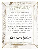 Jan Michaels Rustic Whitewash Wood Framed Art (Love is Patient Love is Kind)