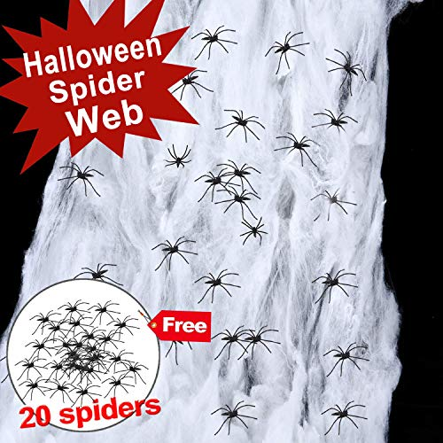 Giant Spider Web Halloween Decoration, Super Stretch to 333 Square Feet Web with Scary 20 pcs 1.5